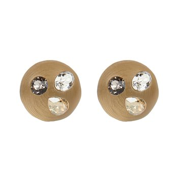 Crystal Studded Button Post Earrings