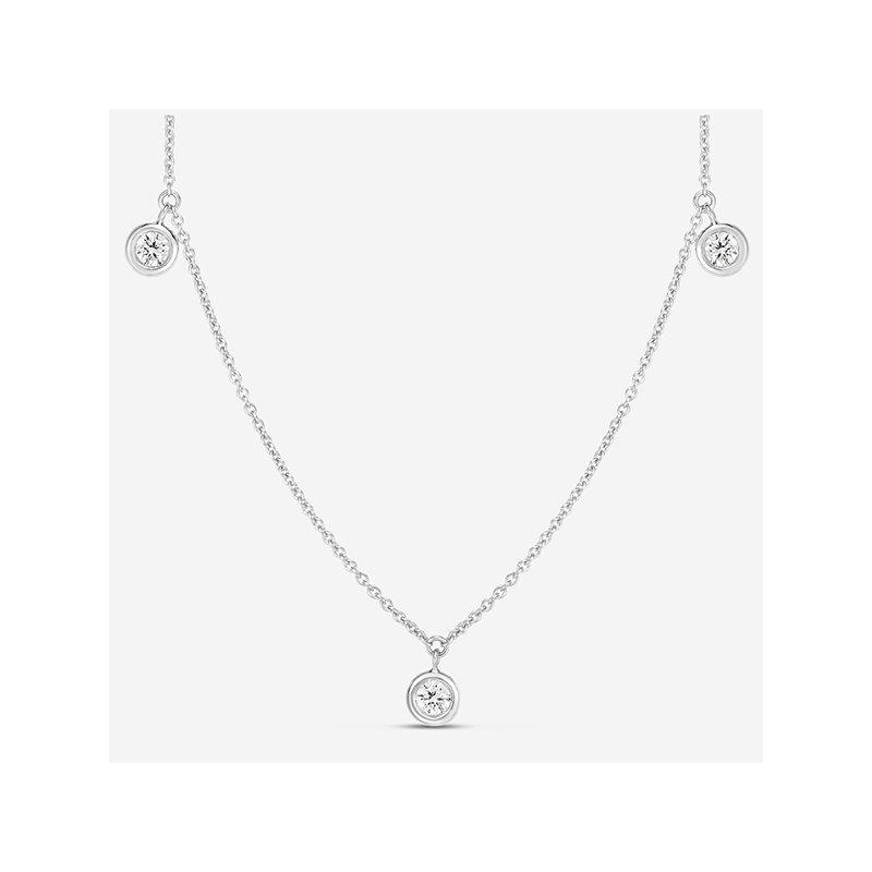 Roberto Coin Three Diamond Drop Station Necklace