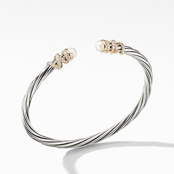 Helena End Station Bracelet with Pearls, Diamonds and 18K Gold, 4mm