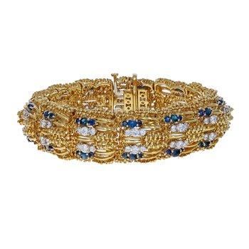 Beaded Diamond & Sapphire Wide Bracelet
