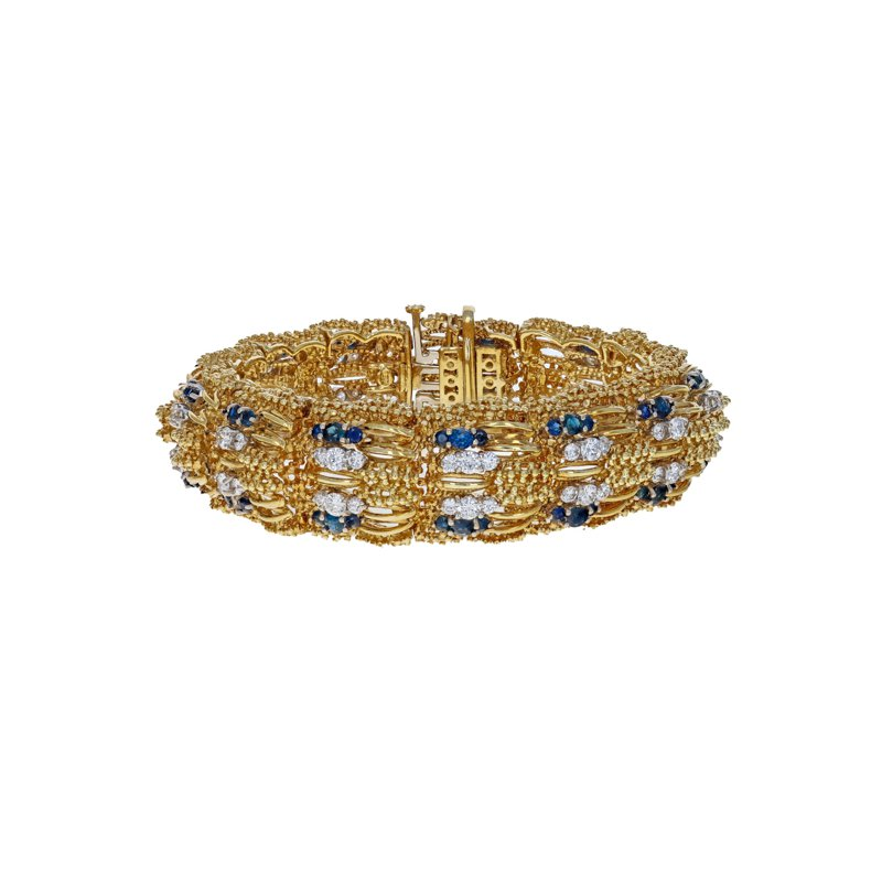 Estate Radcliffe Beaded Diamond & Sapphire Wide Bracelet