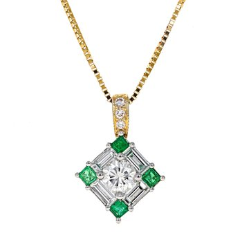 Emerald & Diamond Square Pendant Necklace