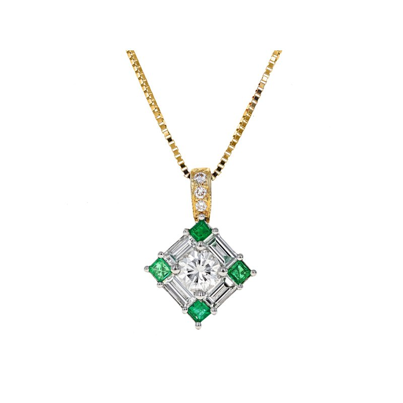 Estate Radcliffe Emerald & Diamond Square Pendant Necklace