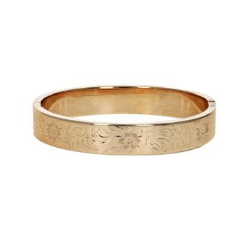 Hollow Floral Engraved Bangle