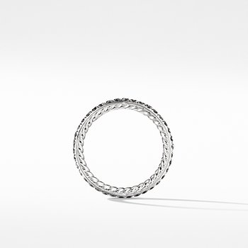 DY Eden Band Ring in Platinum with Black Diamonds