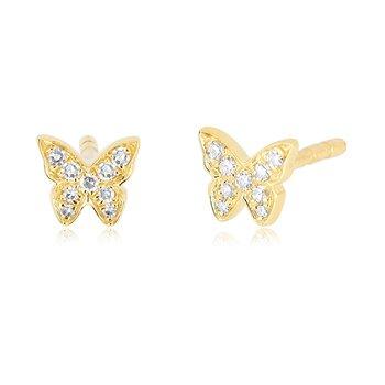 Baby Diamond Butterfly Stud Earrings
