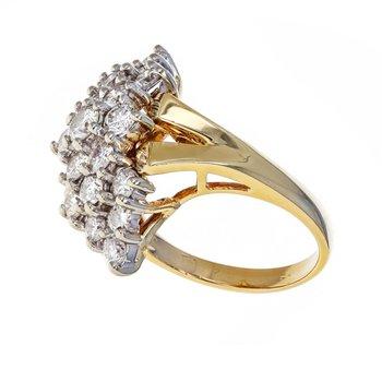 Elongated Diamond Cluster Ring