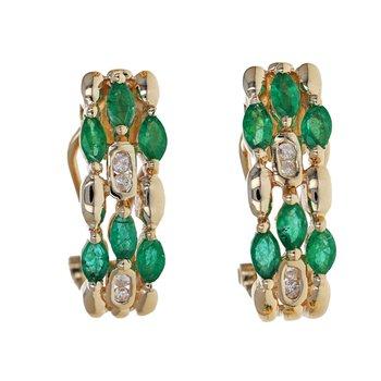 Emerald & Diamond Half Hoop Earrings
