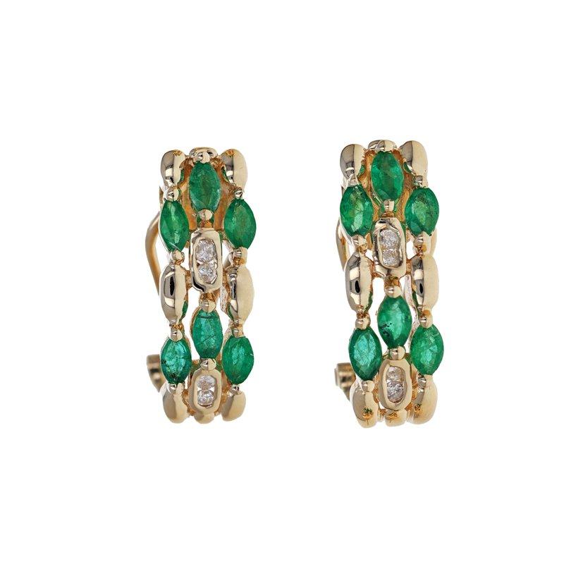 Estate Radcliffe Emerald & Diamond Half Hoop Earrings