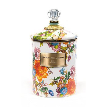 Flower Market Medium Canister, White