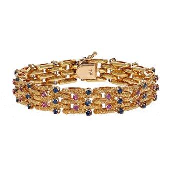 Ruby & Sapphire Woven Bracelet