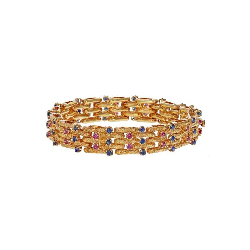 Estate Radcliffe Ruby & Sapphire Woven Bracelet