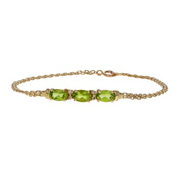 Peridot & Diamond Chain Bracelet