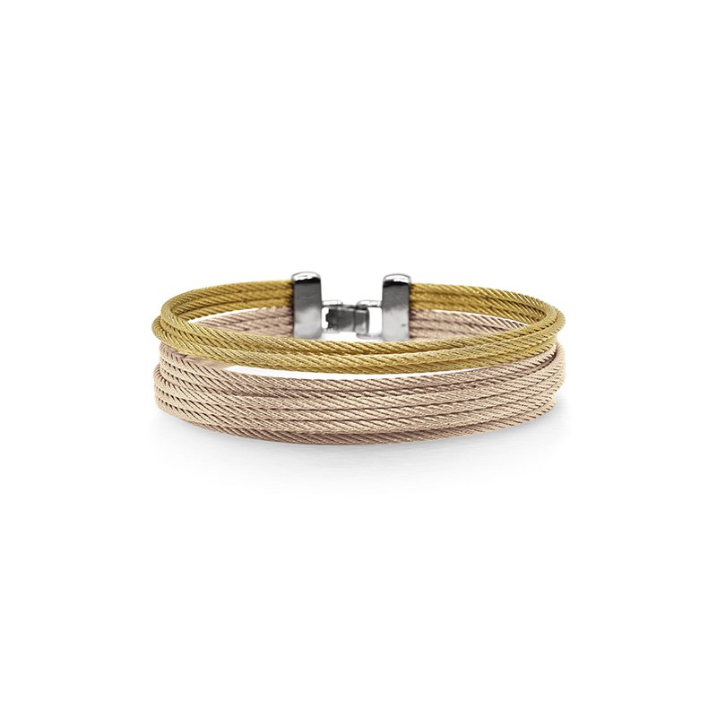 ALOR Carnation & Yellow Cable Double Stack Bracelet