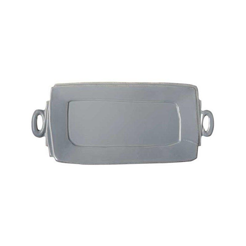 Vietri Lastra Gray Handled Rectangular Platter