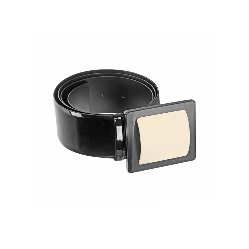 CHANEL Wide Resin Patent Leather Belt
