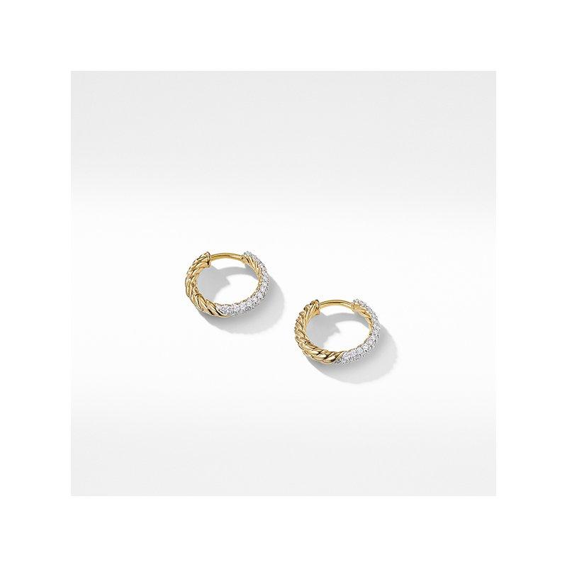 David Yurman Petite Pave Earrings with Diamonds in 18K Gold