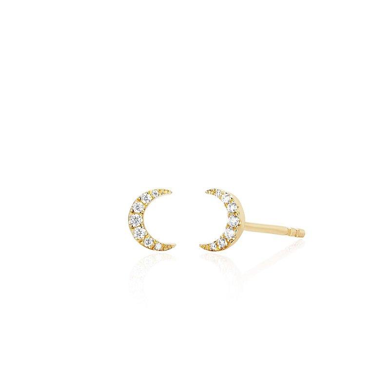 EF Collection Diamond Mini Moon Stud Earrings
