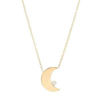 Crescent Moon and Diamond Necklace