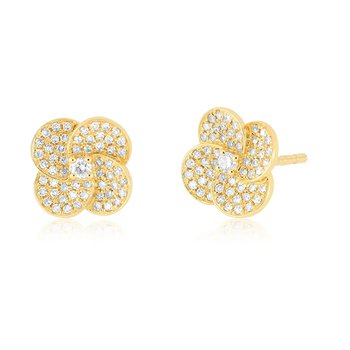 Diamond Jumbo Petal Stud Earrings