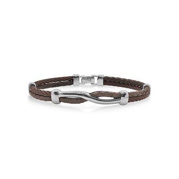 Bronze Cable & Brown Leather Twist Bracelet