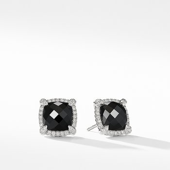 Chatelaine Pave Bezel Stud Earring with Black Onyx and Diamonds, 9mm