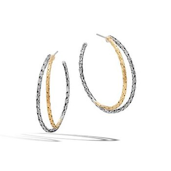 Classic Chain Double Row Hoop Earrings