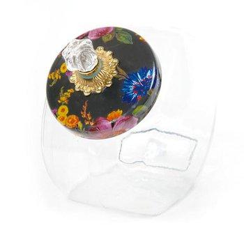 Cookie Jar with Flower Market Enamel Lid, Black