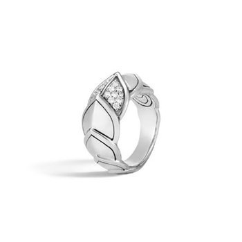 Naga Ring in Silver with Diamonds