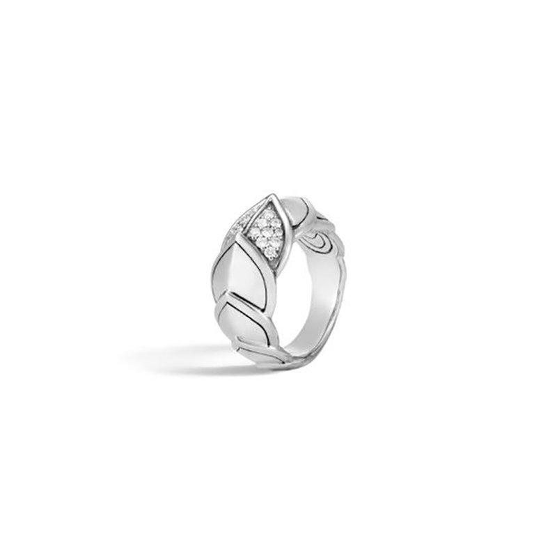 John Hardy Naga Ring in Silver with Diamonds