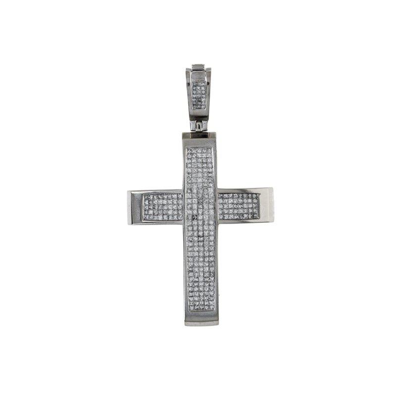 Estate Radcliffe Invisible Set Diamond Cross Pendant