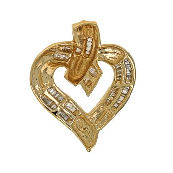 Diamond Baguette Heart Pendant