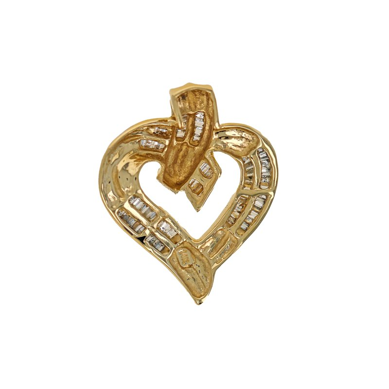 Estate Radcliffe Diamond Baguette Heart Pendant