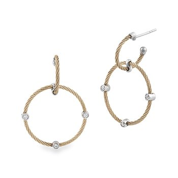 Cable Double Hoop Drop Earrings