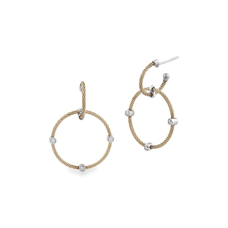 ALOR Cable Double Hoop Drop Earrings