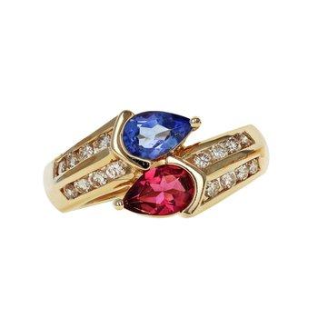 Tanzanite, Pink Tourmaline, And Diamond Bypass Ring
