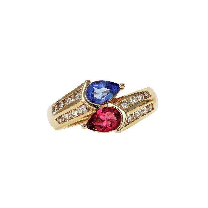 Estate Radcliffe Tanzanite, Pink Tourmaline, And Diamond Bypass Ring