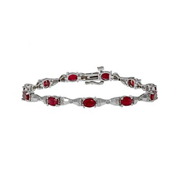 Ruby & Diamond Bow Link Bracelet