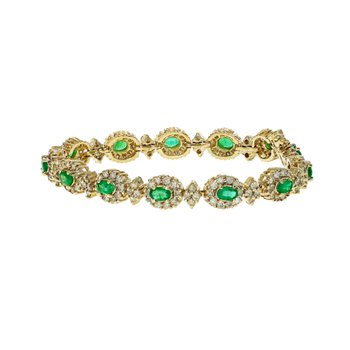 Diamond & Emerald Halo Bracelet