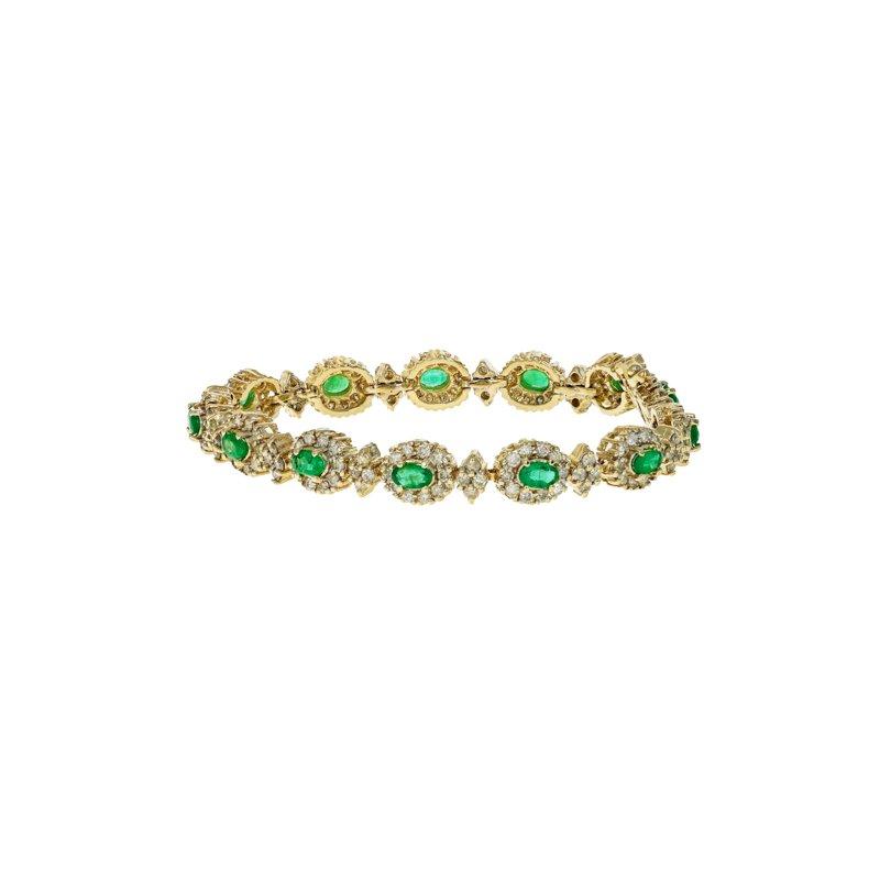 Estate Radcliffe Diamond & Emerald Halo Bracelet