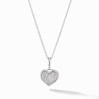 Cable Collectibles Pave Plate Heart Charm Necklace in 18K White Gold