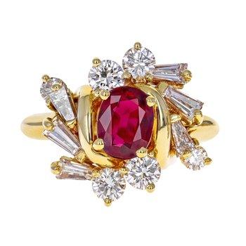 Diamond & Ruby Cluster Ring