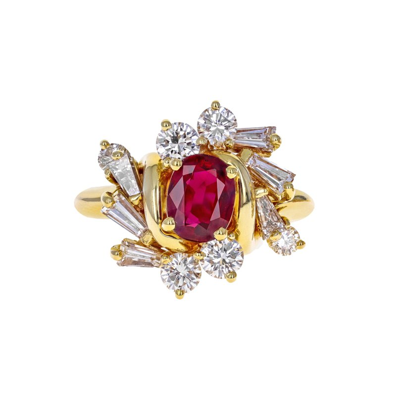Estate Radcliffe Diamond & Ruby Cluster Ring