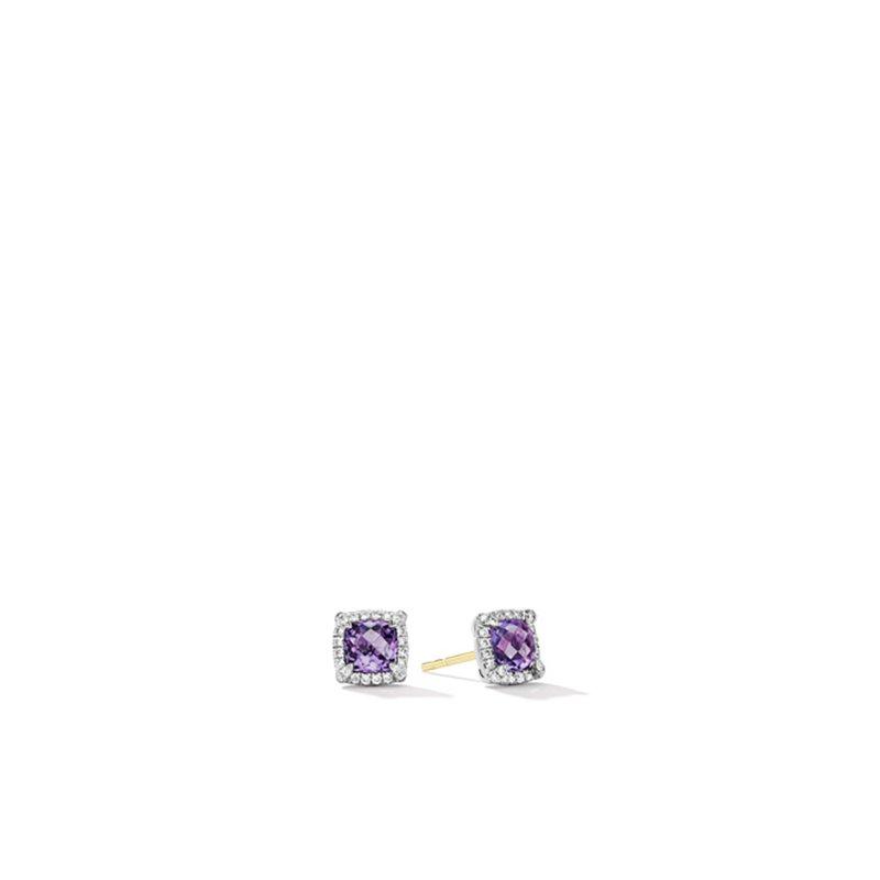 David Yurman Petite Chatelaine® Pavé Bezel Stud Earrings with Amethyst and Diamonds