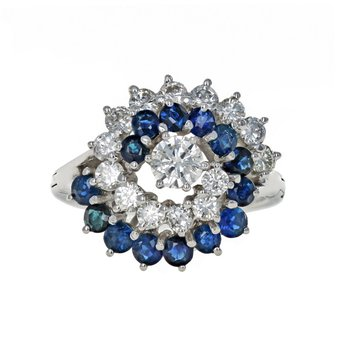 Diamond & Sapphire Swirl Ring