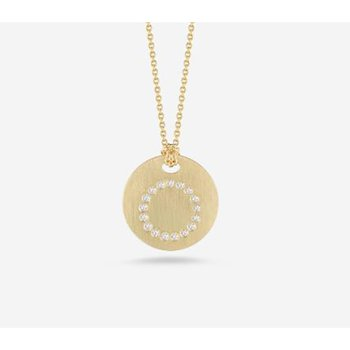 "Disc Pendant with Diamond Initial ""O"""