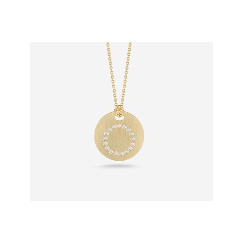 "Roberto Coin Disc Pendant with Diamond Initial ""O"""