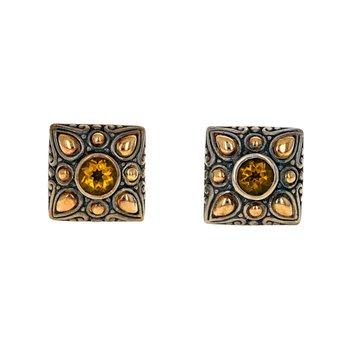 Citrine Square Earrings