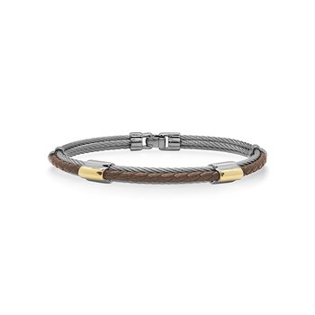Grey Cable & Brown Leather Bracelet