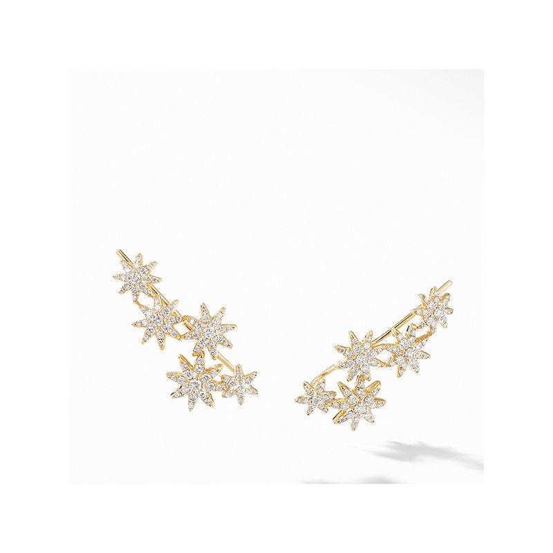 David Yurman Starburst Climber Earrings in 18K Yellow Gold with Pave Diamonds